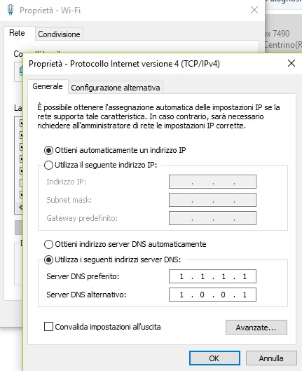 Come cambiare DNS Windows